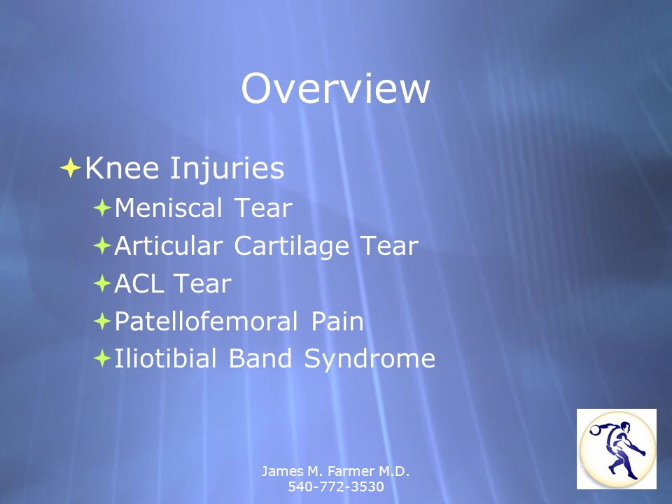 Overview Knee Injuries Meniscal Tear Articular Cartilage Tear ACL Tear
