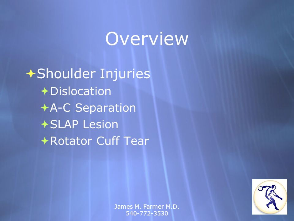 Overview Shoulder Injuries Dislocation A-C Separation SLAP Lesion