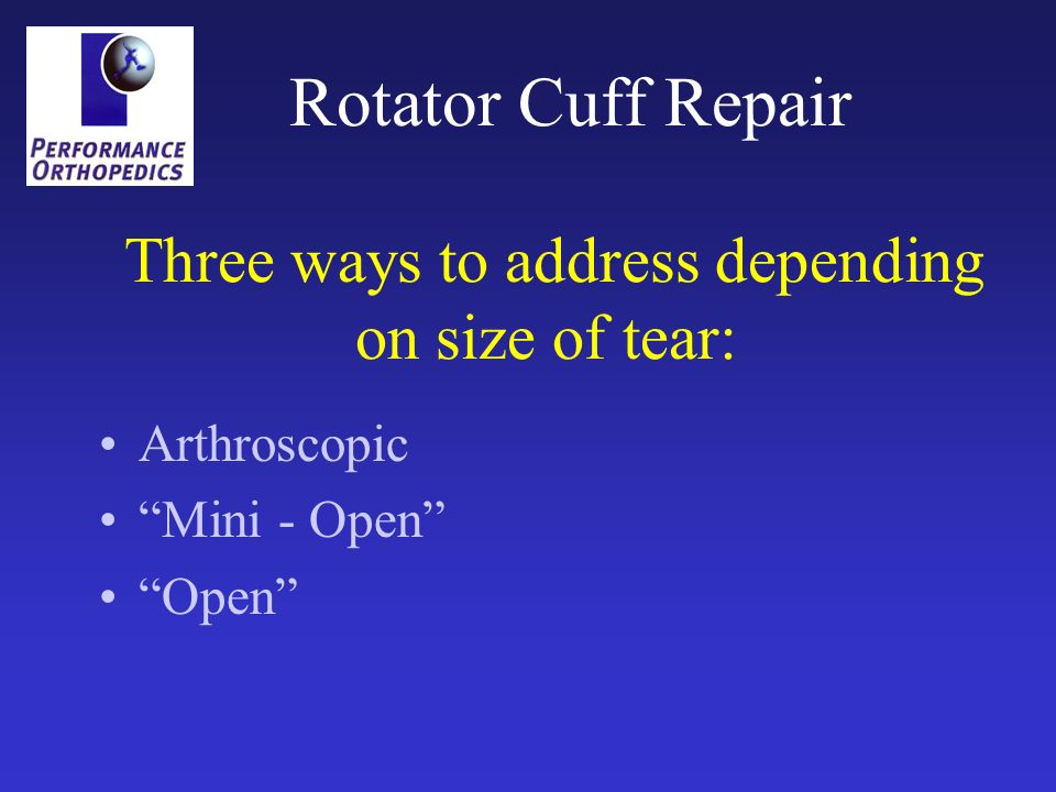 Rotator Cuff Repair Three ways to address depending on size of tear:
