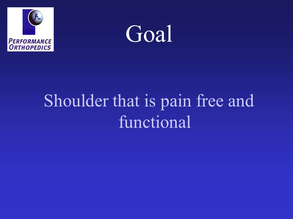 Shoulder that is pain free and functional
