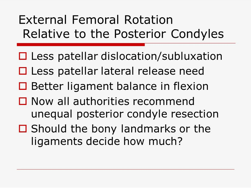 External Femoral Rotation Relative to the Posterior Condyles