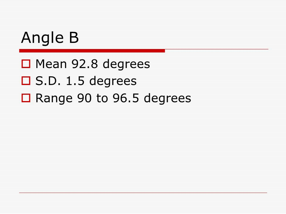 Angle B Mean 92.8 degrees S.D. 1.5 degrees Range 90 to 96.5 degrees