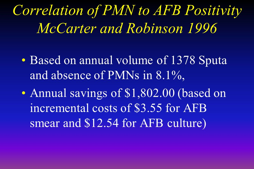 Correlation of PMN to AFB Positivity McCarter and Robinson 1996