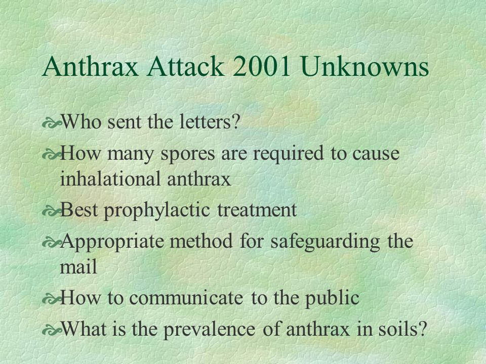 Anthrax Attack 2001 Unknowns