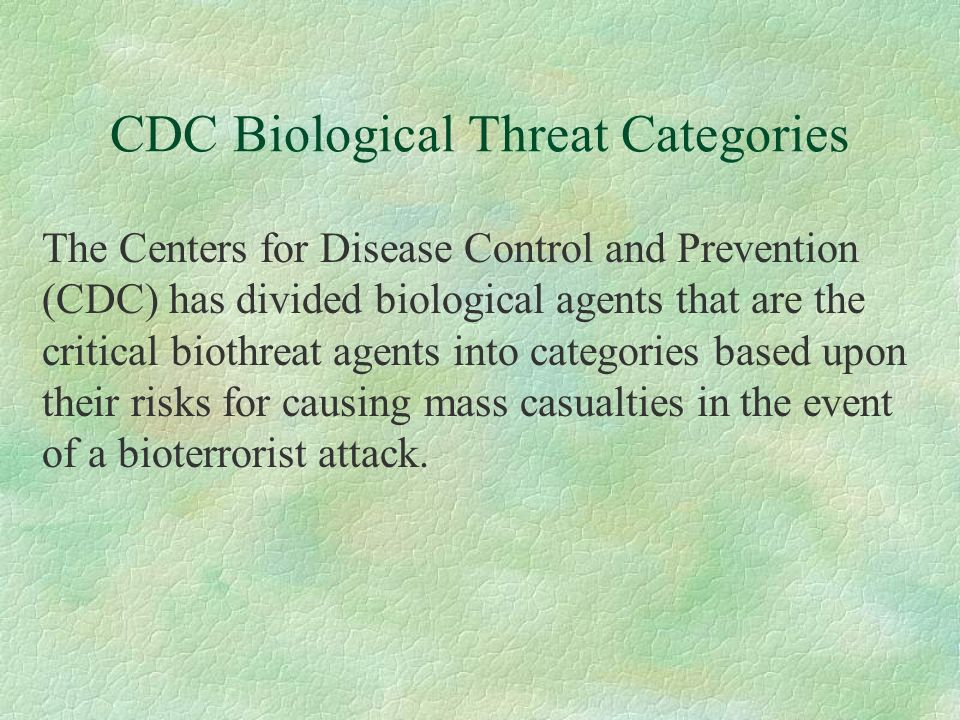 CDC Biological Threat Categories