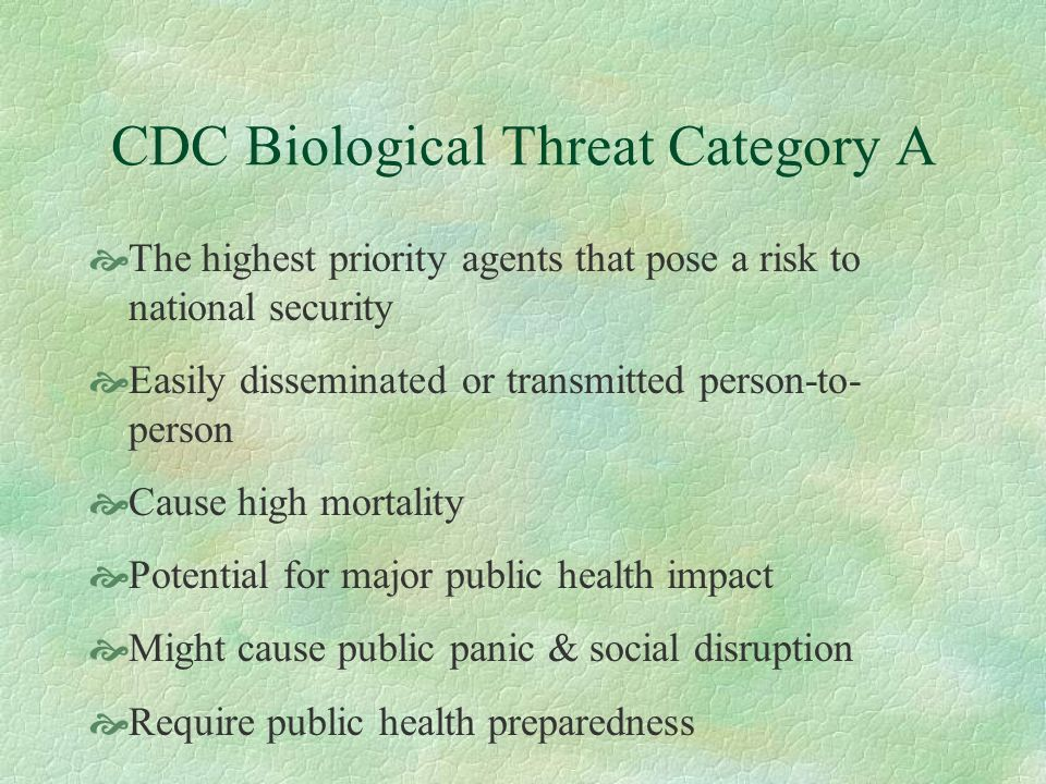 CDC Biological Threat Category A