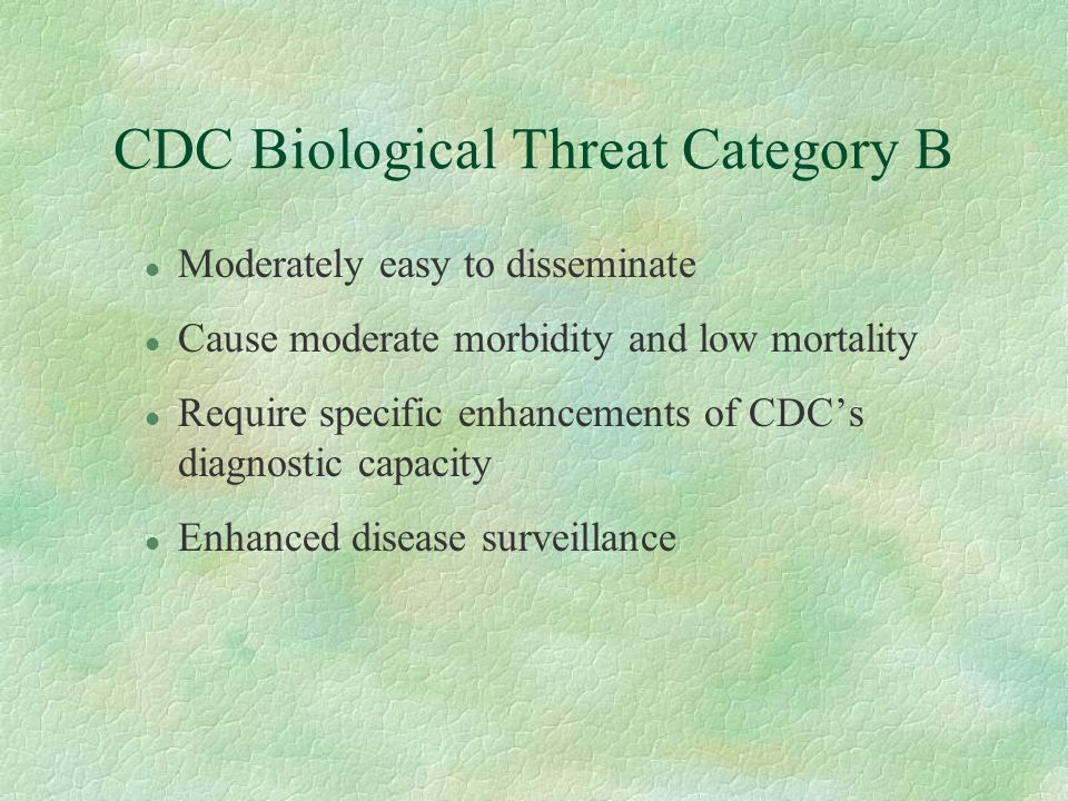 CDC Biological Threat Category B