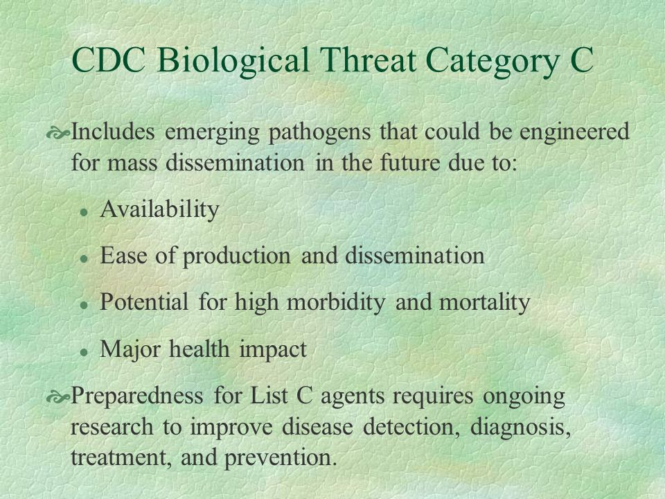 CDC Biological Threat Category C