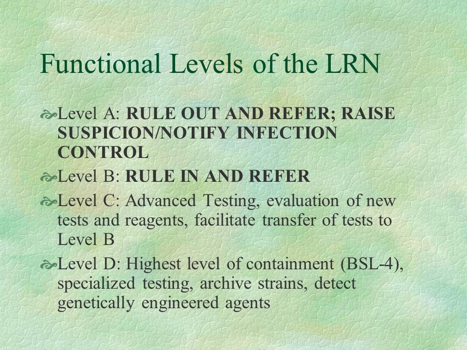 Functional Levels of the LRN