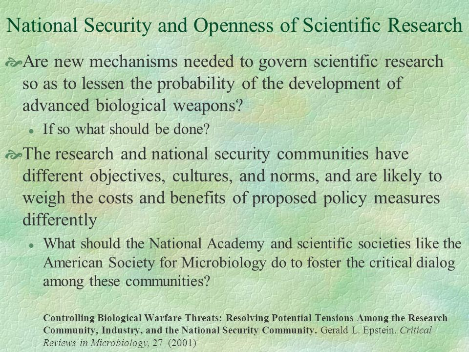 National Security and Openness of Scientific Research