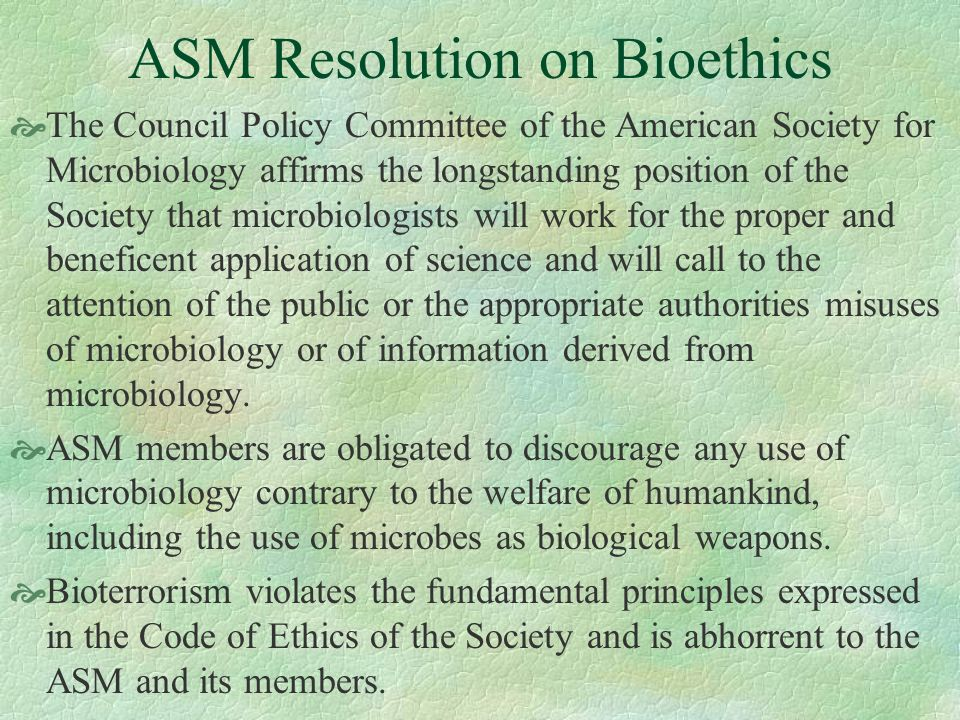 ASM Resolution on Bioethics