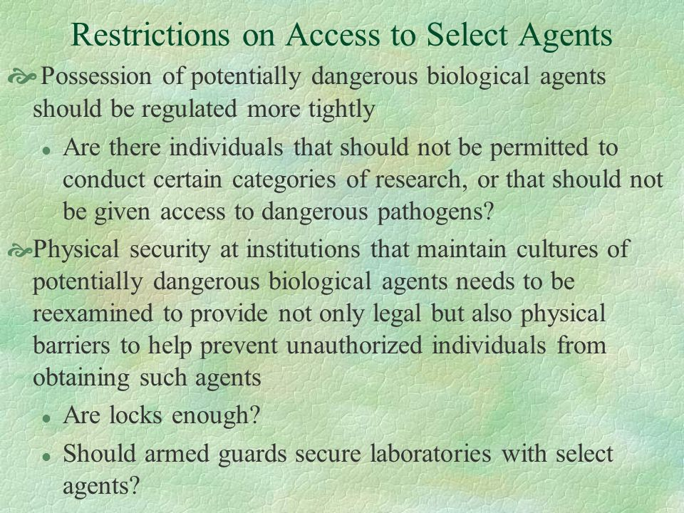 Restrictions on Access to Select Agents