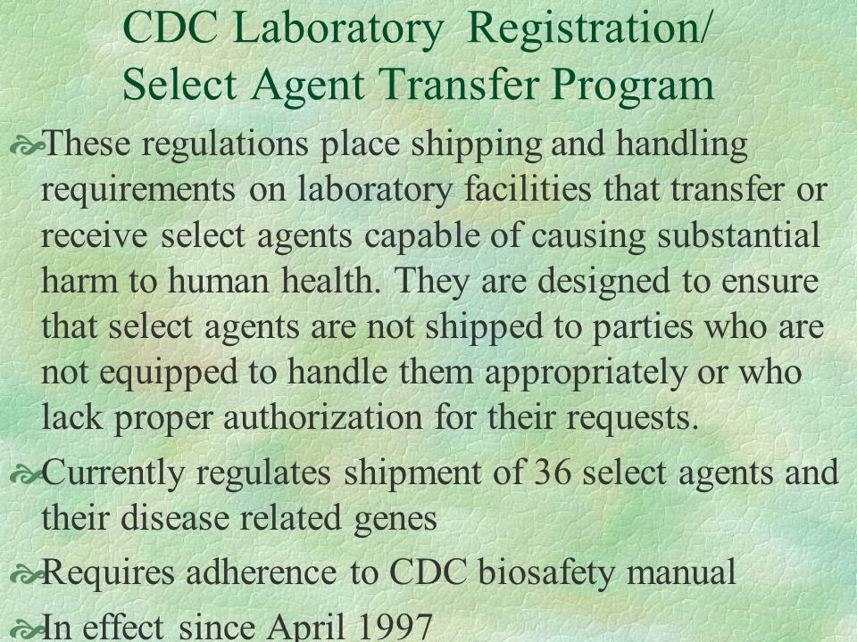 CDC Laboratory Registration/ Select Agent Transfer Program