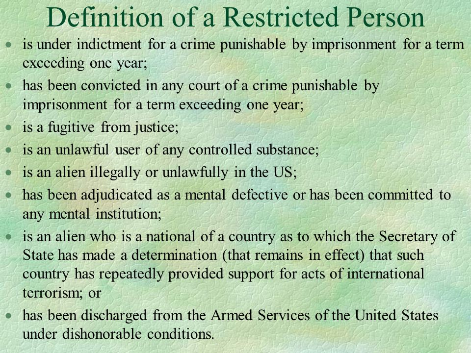 Definition of a Restricted Person