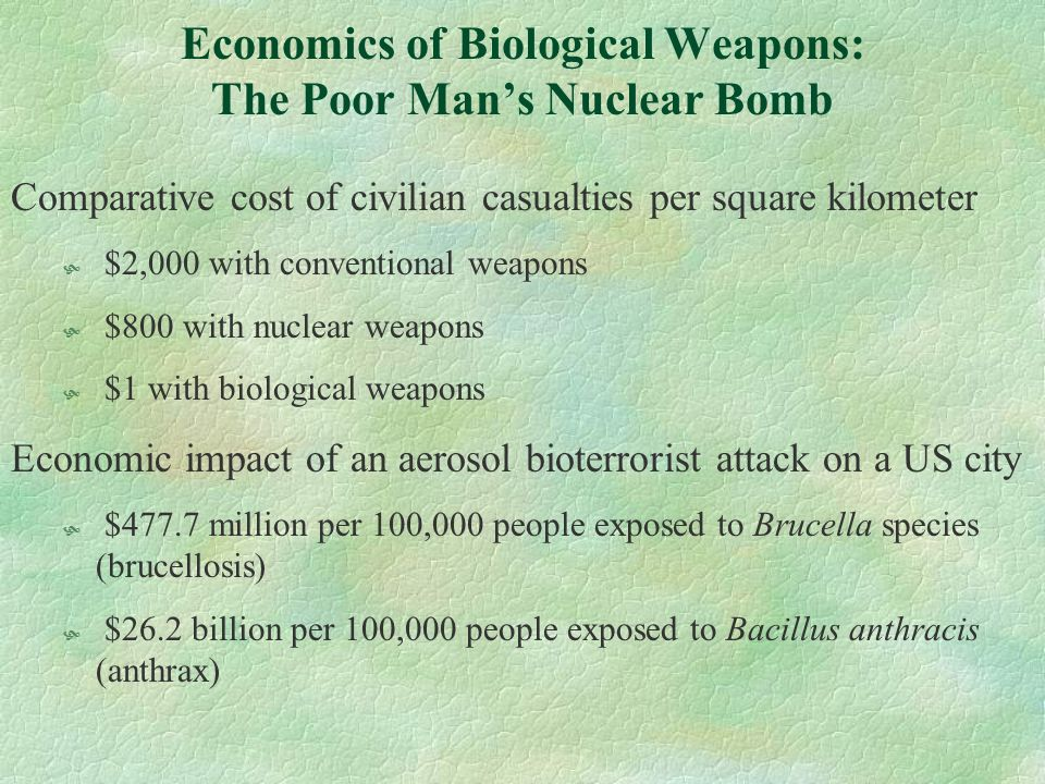 Economics of Biological Weapons: The Poor Man's Nuclear Bomb