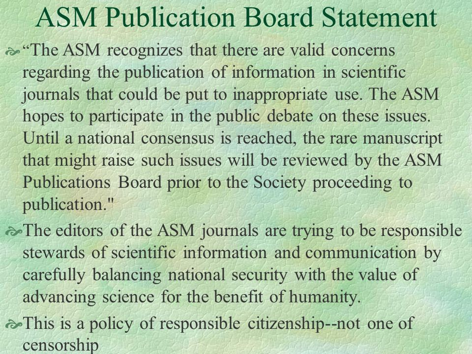 ASM Publication Board Statement