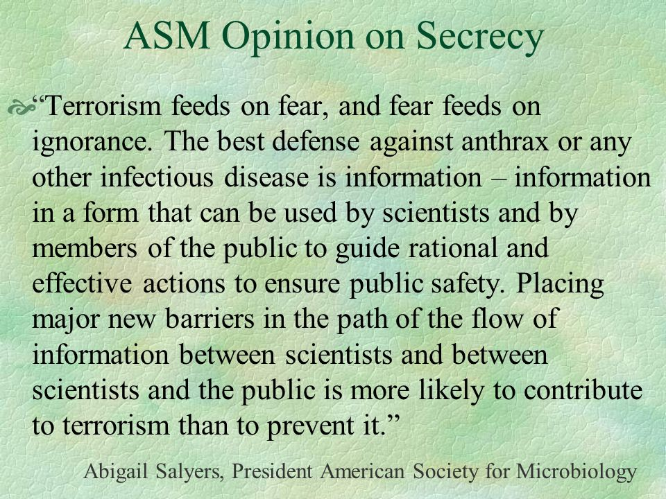 ASM Opinion on Secrecy