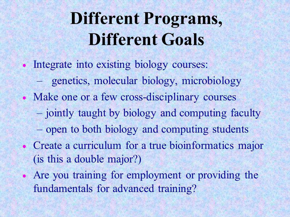 Different Programs, Different Goals