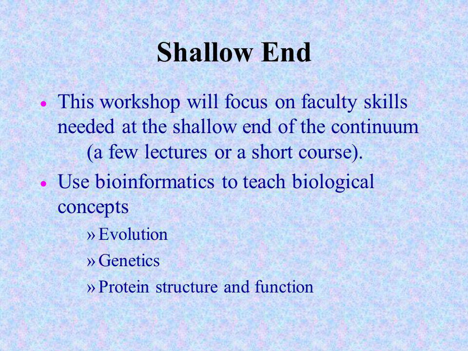 Shallow End This workshop will focus on faculty skills needed at the shallow end of the continuum (a few lectures or a short course).