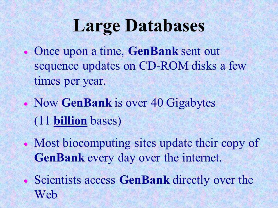 Large Databases Once upon a time, GenBank sent out sequence updates on CD-ROM disks a few times per year.