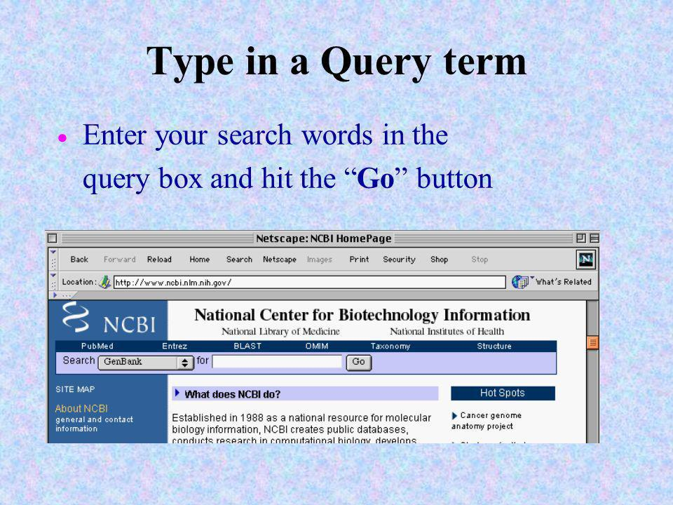 Type in a Query term Enter your search words in the