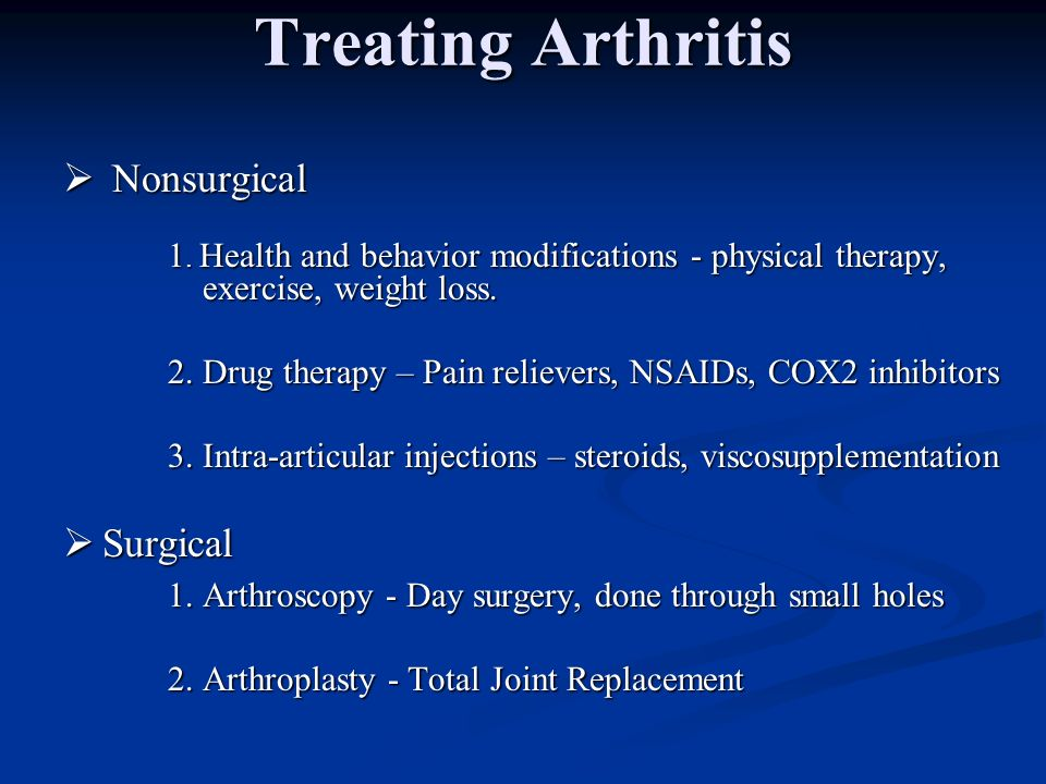 Treating Arthritis Nonsurgical Surgical