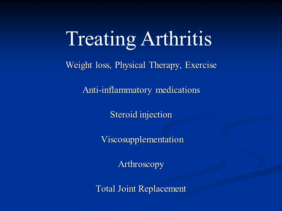 Treating Arthritis Weight loss, Physical Therapy, Exercise