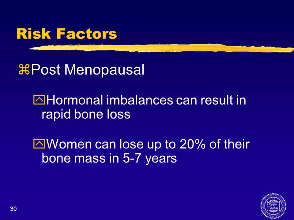 Risk Factors Post Menopausal