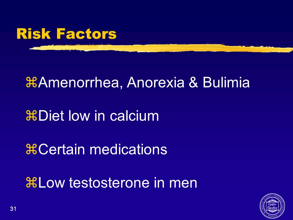 Amenorrhea, Anorexia & Bulimia Diet low in calcium Certain medications