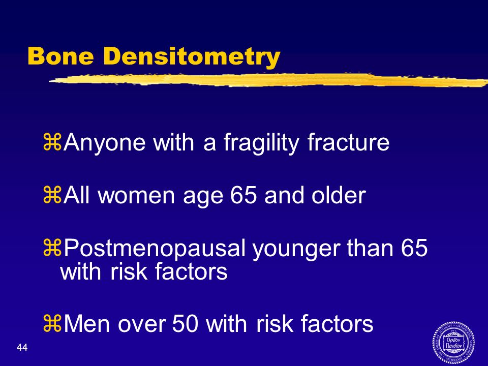Anyone with a fragility fracture All women age 65 and older