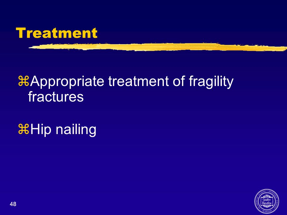 Appropriate treatment of fragility fractures Hip nailing