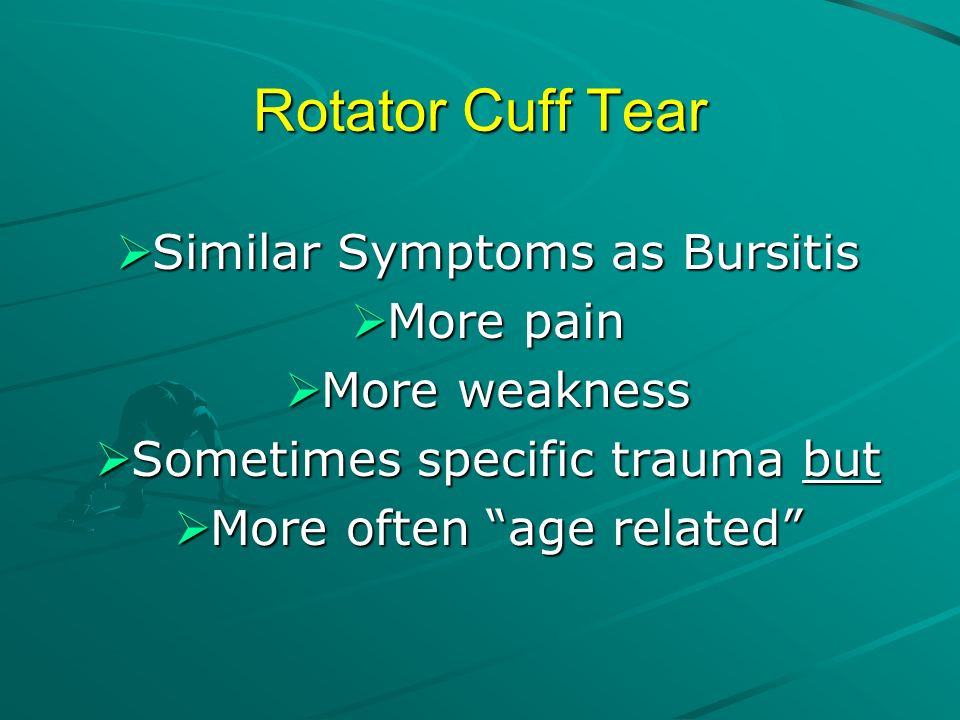 Rotator Cuff Tear Similar Symptoms as Bursitis More pain More weakness