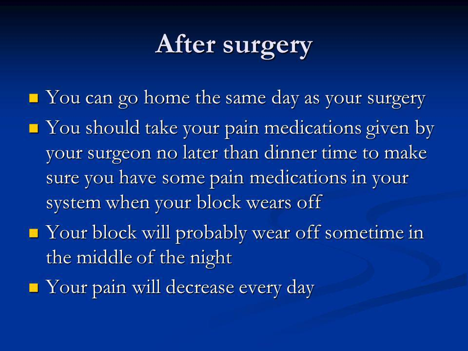 After surgery You can go home the same day as your surgery