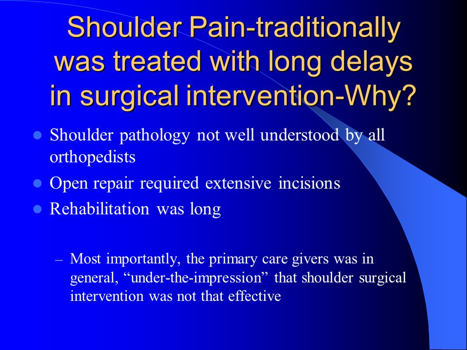 Shoulder Pain-traditionally was treated with long delays in surgical intervention-Why