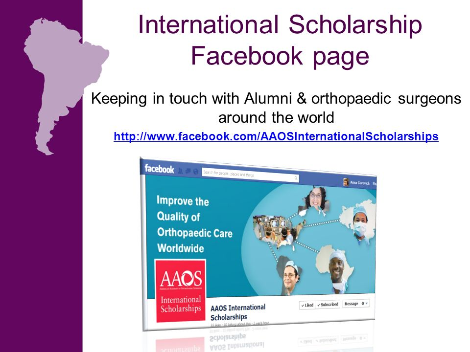 International Scholarship Facebook page
