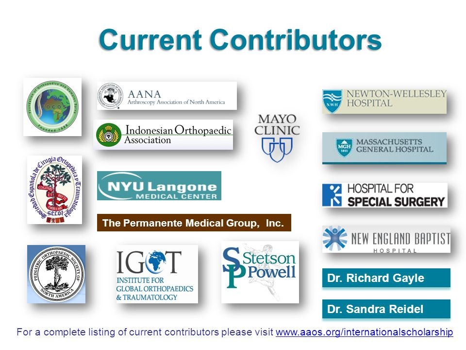 Current Contributors Dr. Richard Gayle Dr. Sandra Reidel