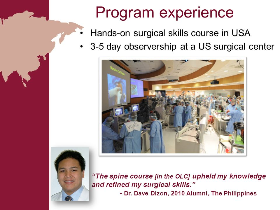 Program experience Hands-on surgical skills course in USA