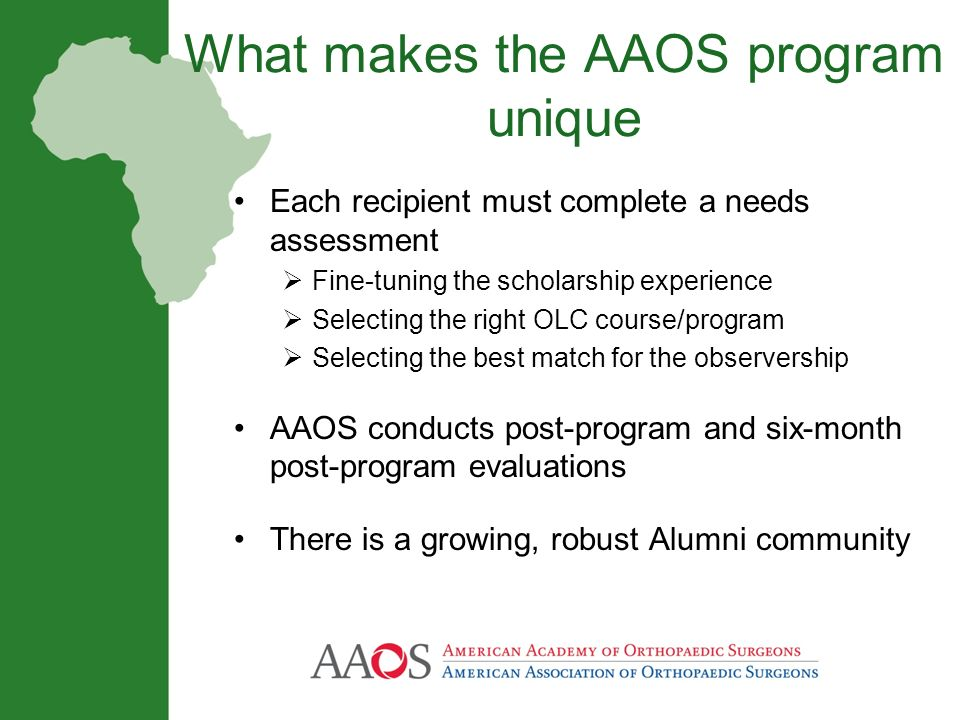 What makes the AAOS program unique