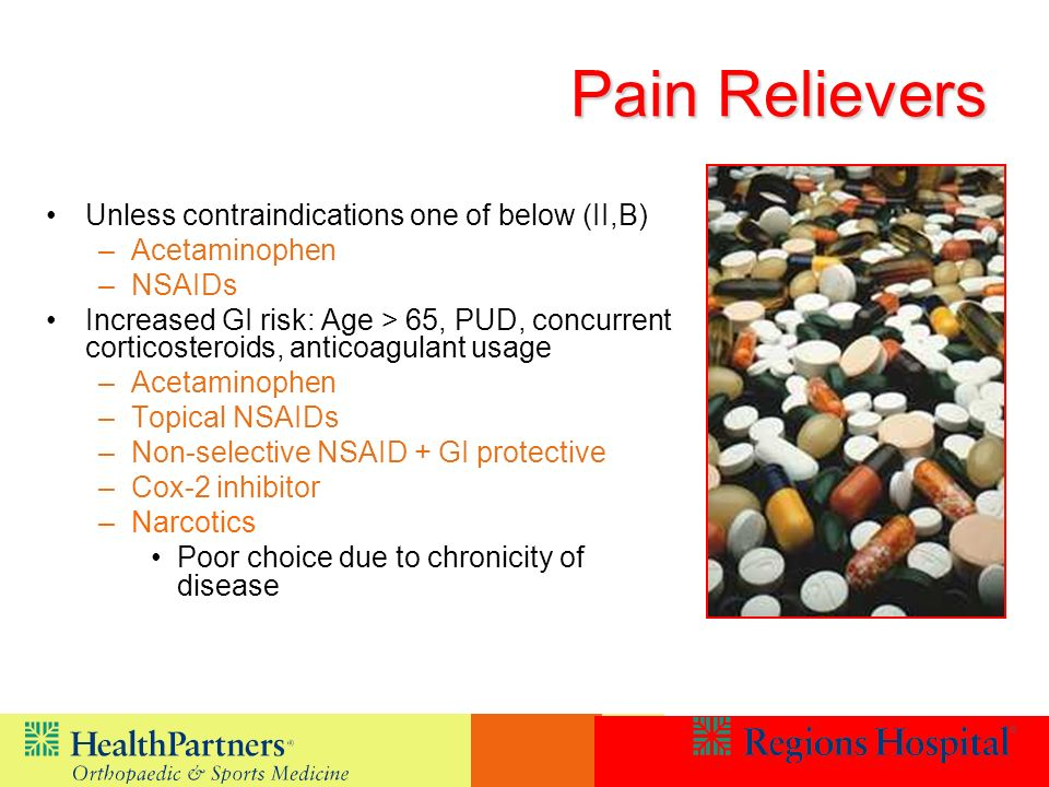 Pain Relievers Unless contraindications one of below (II,B)