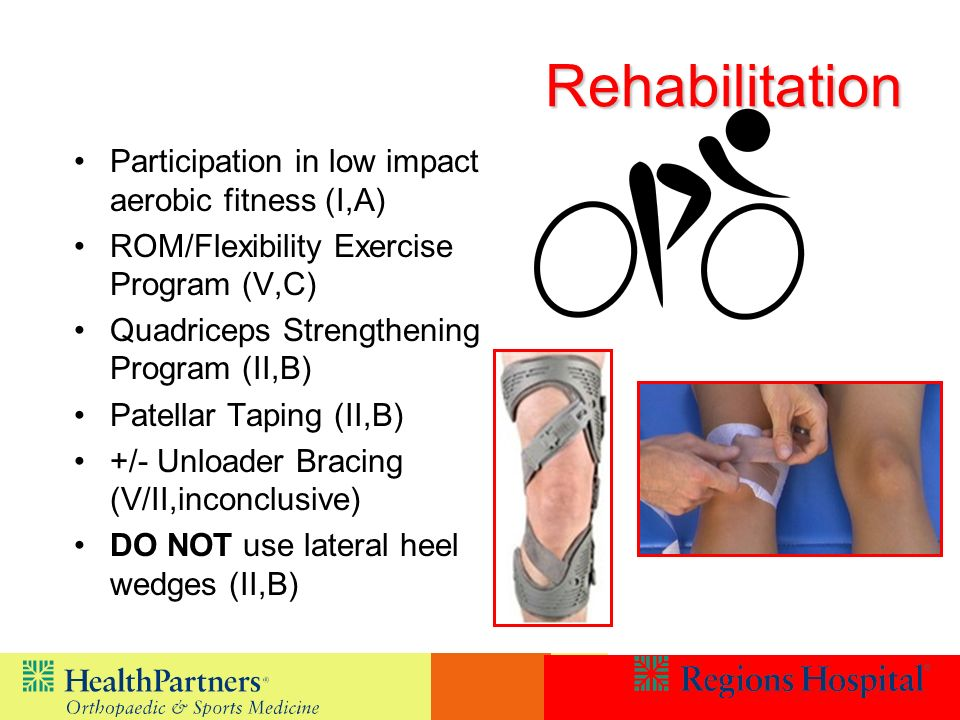 Rehabilitation Participation in low impact aerobic fitness (I,A)