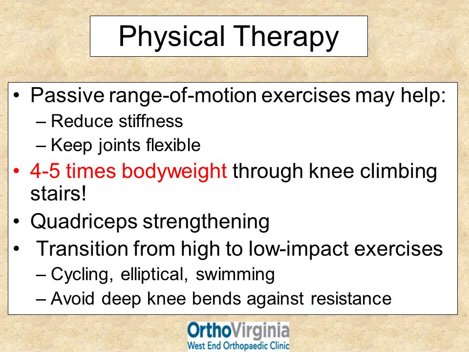 Physical Therapy Passive range-of-motion exercises may help: