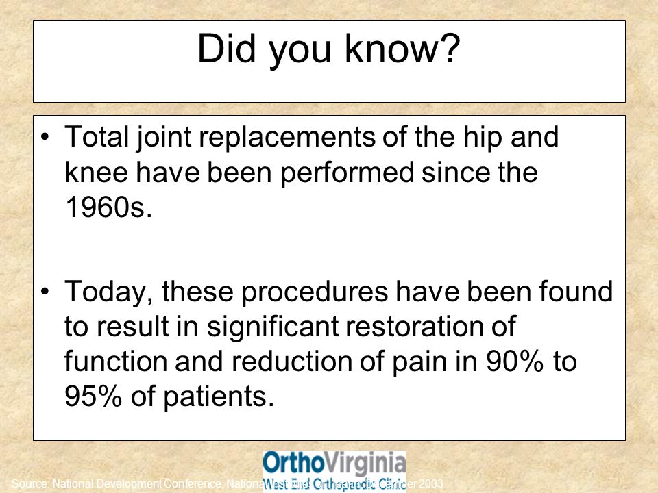 Did you know Total joint replacements of the hip and knee have been performed since the 1960s.