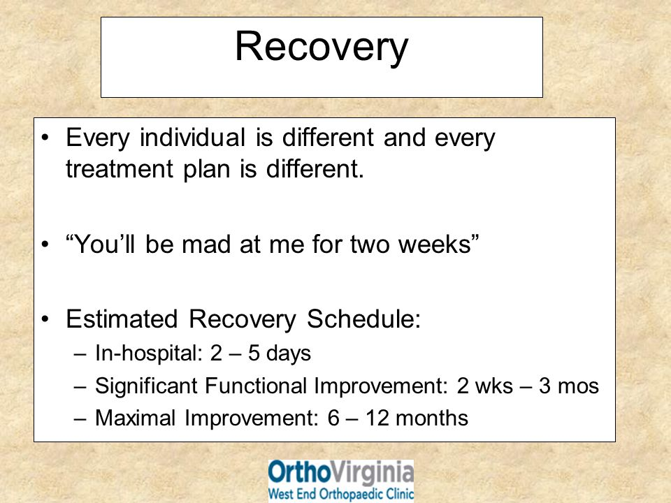 Recovery Every individual is different and every treatment plan is different. You'll be mad at me for two weeks