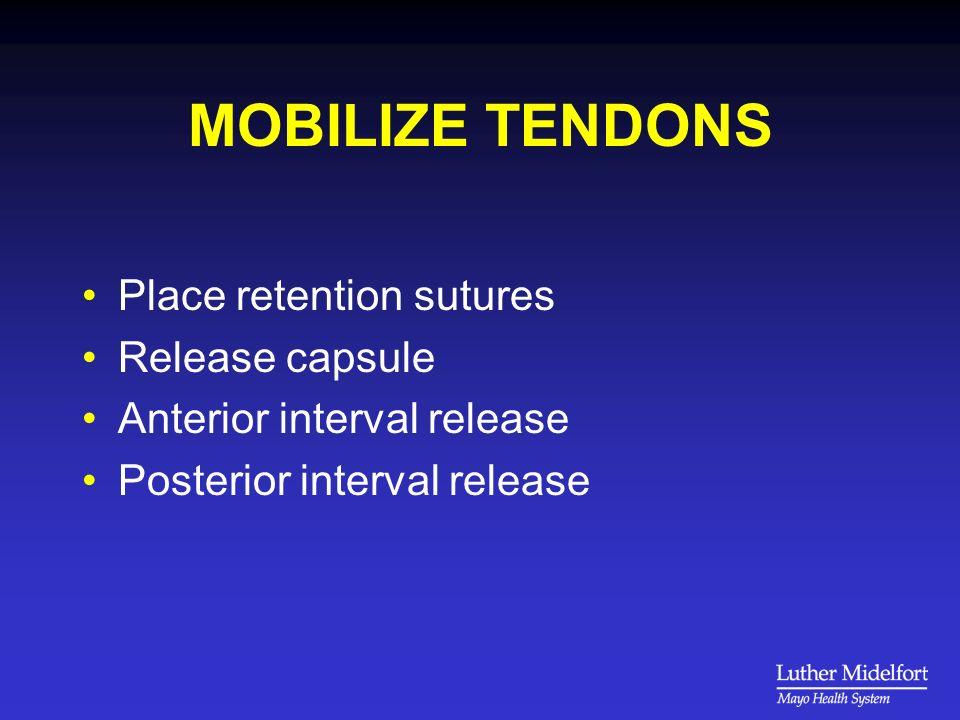 MOBILIZE TENDONS Place retention sutures Release capsule