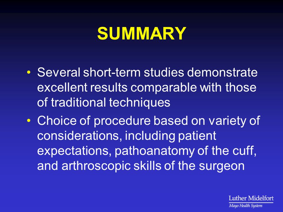 SUMMARY Several short-term studies demonstrate excellent results comparable with those of traditional techniques.