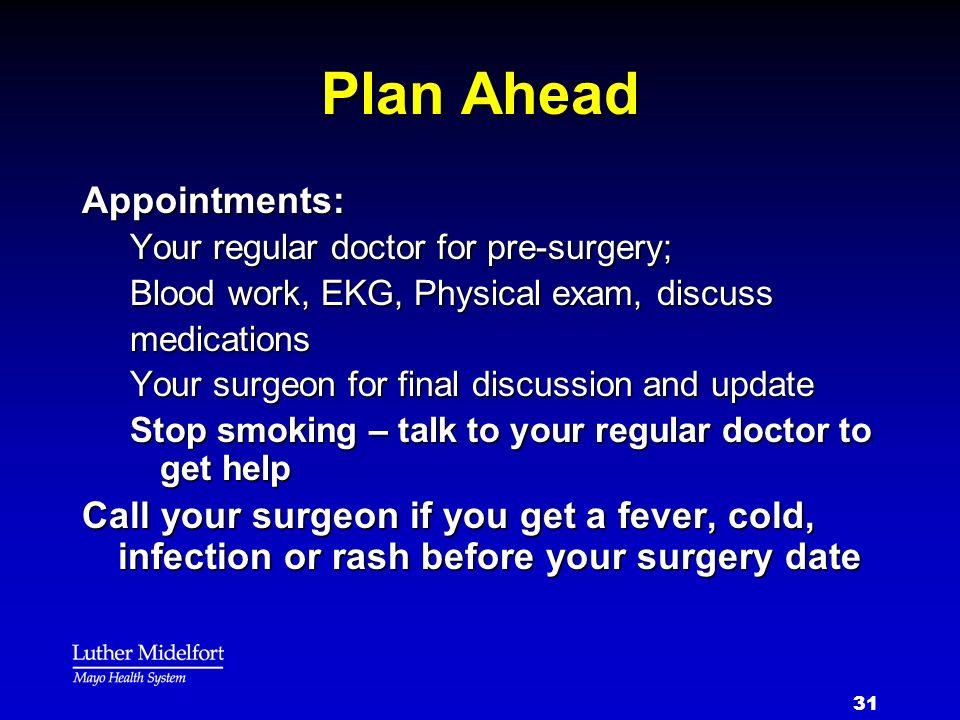Plan Ahead Appointments:
