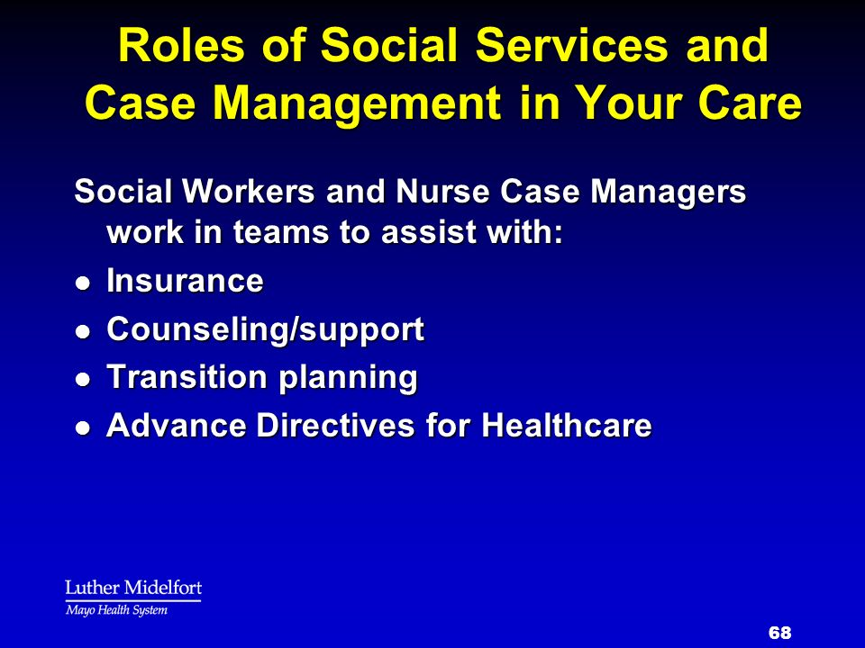 Roles of Social Services and Case Management in Your Care