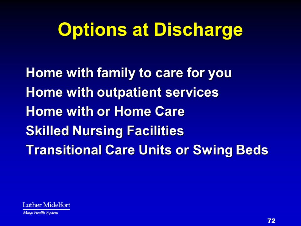 Options at Discharge Home with family to care for you
