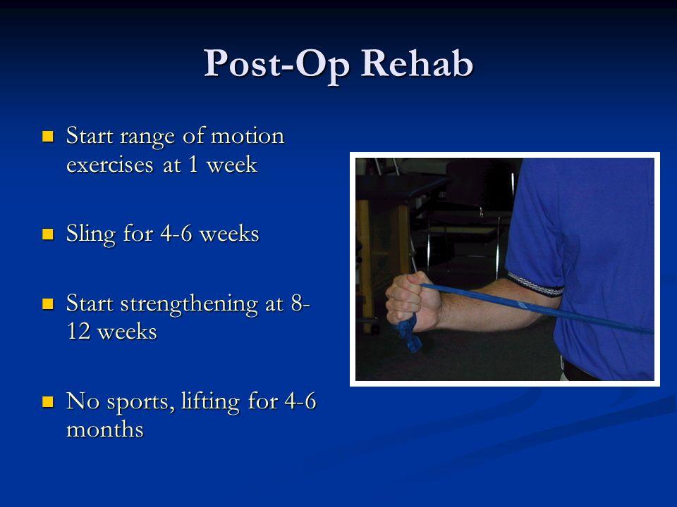Post-Op Rehab Start range of motion exercises at 1 week
