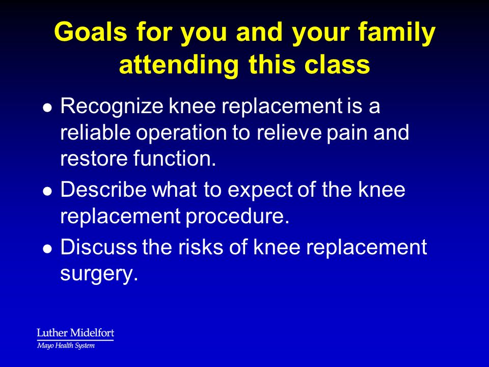 Goals for you and your family attending this class